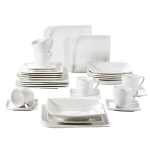30-Pieces-Ivory-White-Porcelain-Dinnerware-Set-Cups-Saucers-Plates-Service-for-6