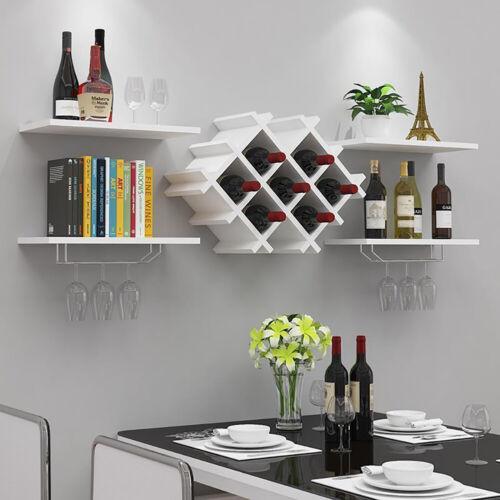 5pcs Wall Mounted Wine Rack Shelving Unit Storage Display Shelf Glass Holder
