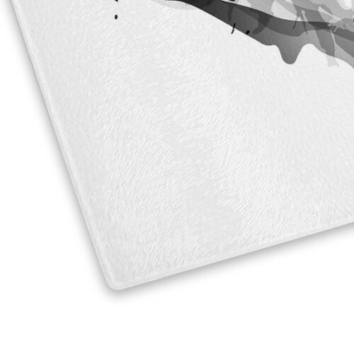 Black White Abstract Lips Glass Chopping Board Kitchen Worktop Saver Protector
