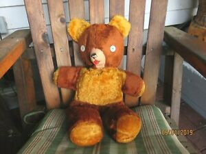 Vintage-Teddy-Bear-Brown-Plush-with-Button-Eyes
