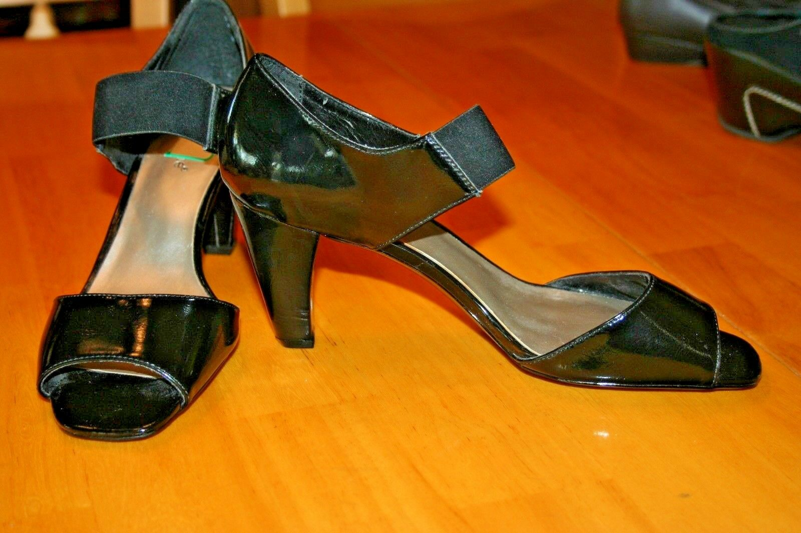 Madeline Black Size 9 Open Toe Black Madeline Heels/Elastic Band across top/Preowned 51a693