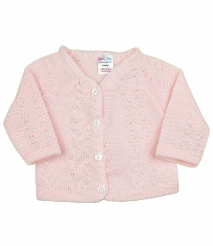 3m BabyPrem Baby Girls Clothes Knitted White Pink Cardigan Sweater Cardi NB
