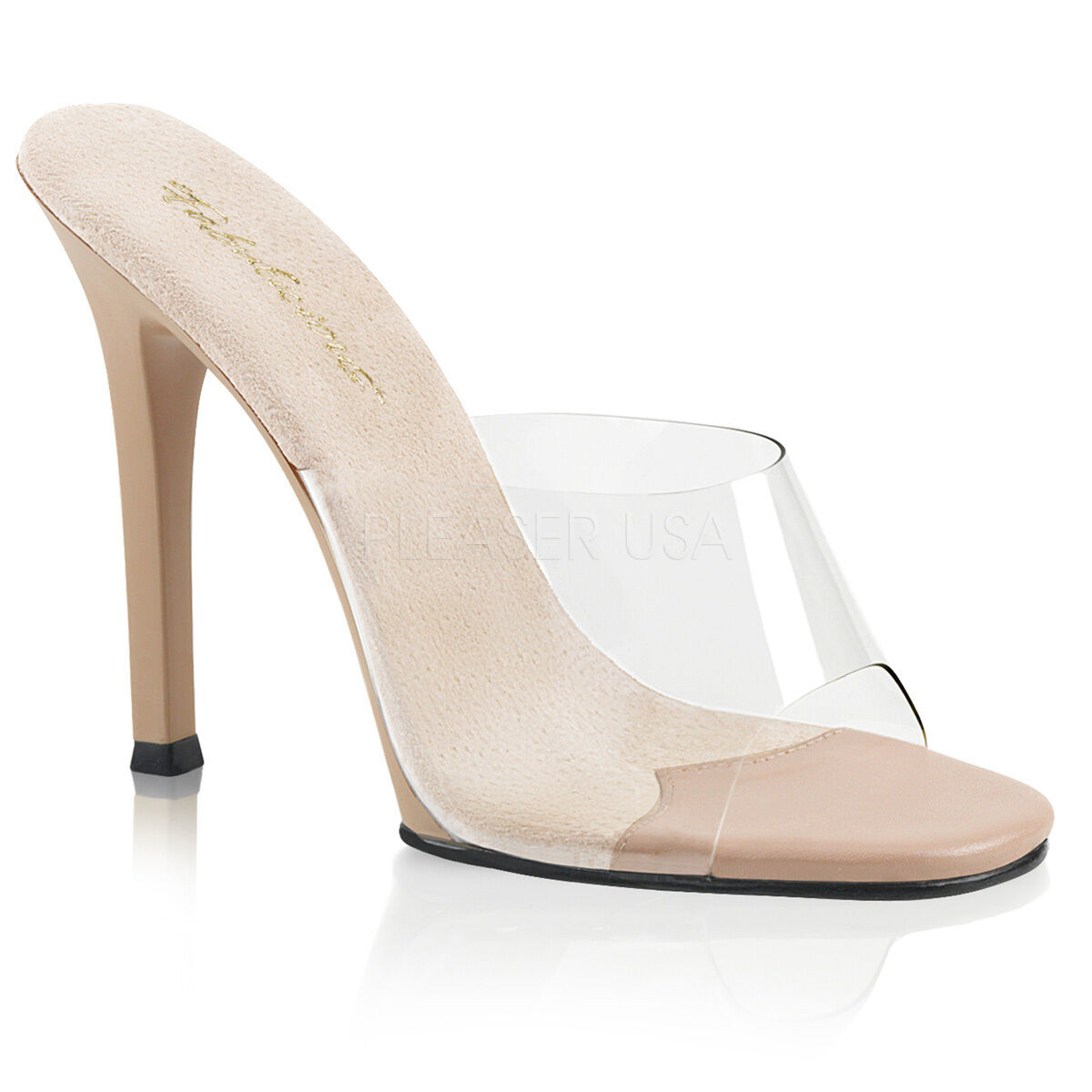 PLEASER Sexy shoes Pageant Slip On Tan 4 1 2  High Heels Mules GALA01 C-ND ND