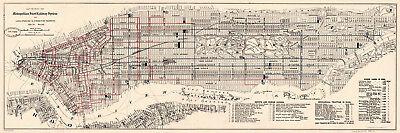1899 Map Manhattan New York City Subway Railroads Streets Transit System Poster