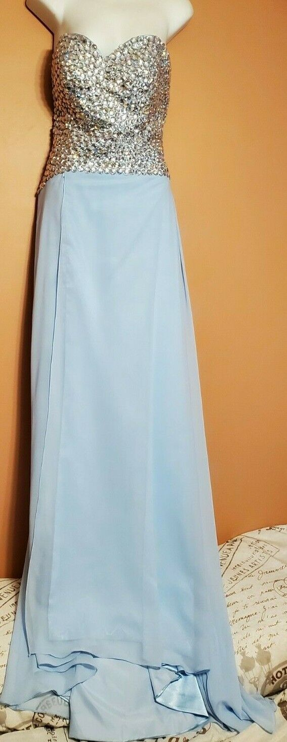 Stunning Formal Strapless Sky Blue Dress w/ Sewn on AB Acrylic Beads Size 10 NWT