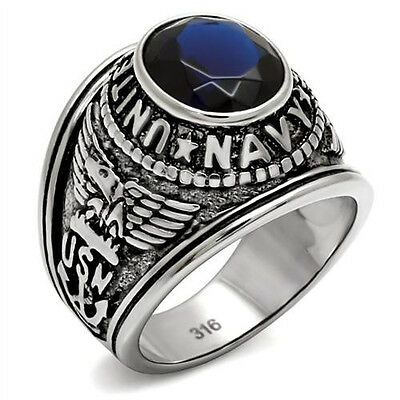 US Navy Ring Military Simulated Blue Sapphire Antiqued 316 Stainless Steel