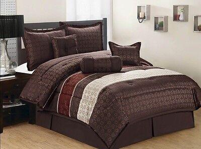 7pcs Brown Beige & Burgundy Comforter Bedding Set King Queen Full Free Shipping