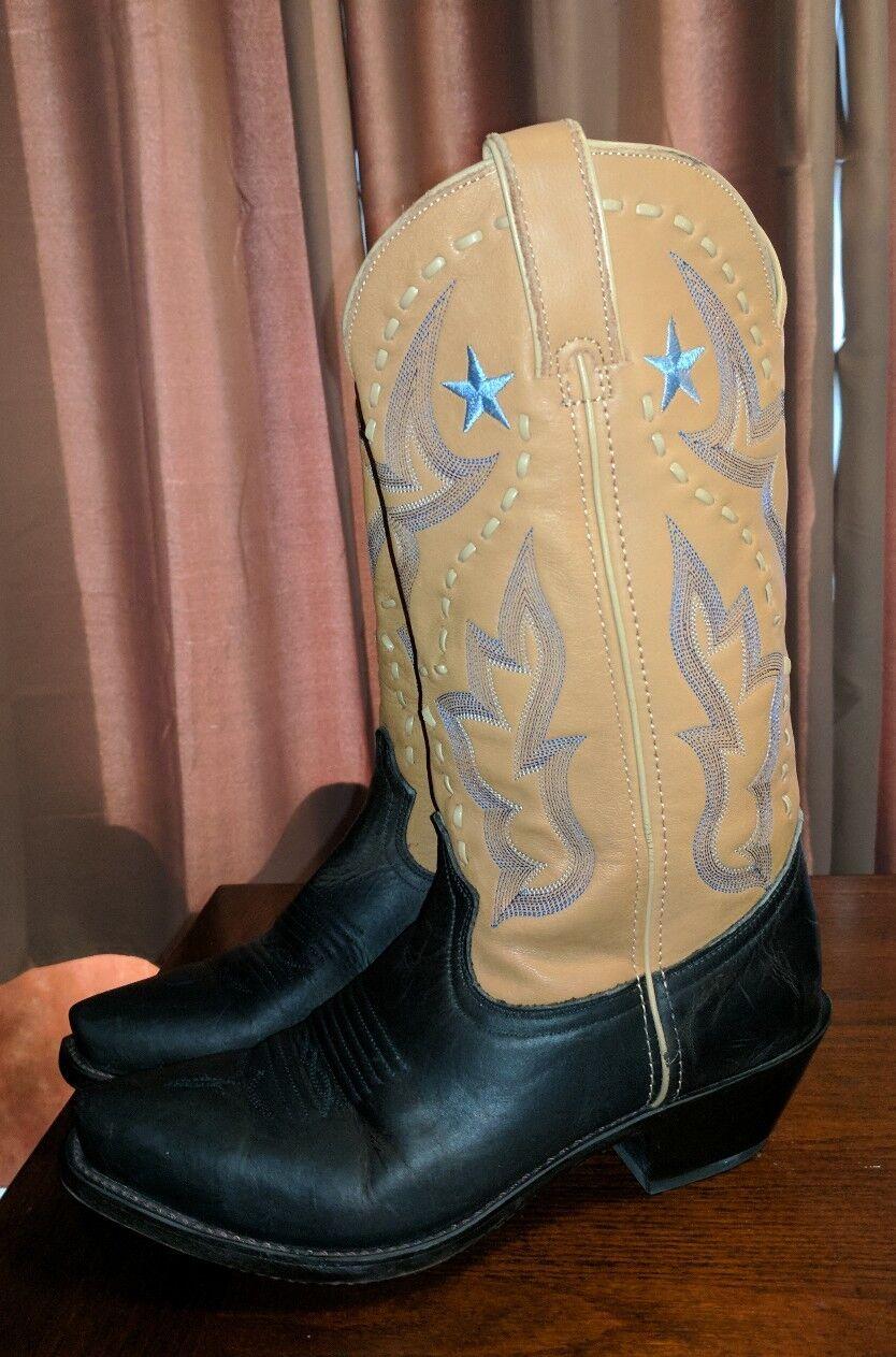 VINTAGE DURANGO LEATHER BLACK BROWN COWBOY Stiefel LONE SNIP TOE LADIES 7.5 LONE Stiefel STAR 9830ce