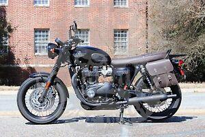 Triumph Bonneville T100 T120 Left Side Solo Bag Black Brown Tl01