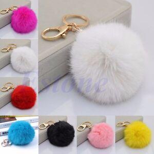 Rabbit-Fur-Ball-PomPom-Cell-Phone-Car-Keychain-Pendant-Handbag-Charm-Key-Ring