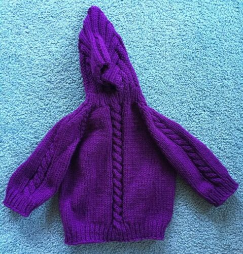 Choose size /& color Handmade Knitted Baby Sweaters with Hood and Back Zipper