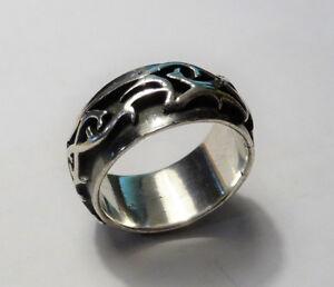 Silberring-Ring-mit-Tribal-Ornamenten-925-Silber-Groesse-66-21-wie-neu-13-7-g