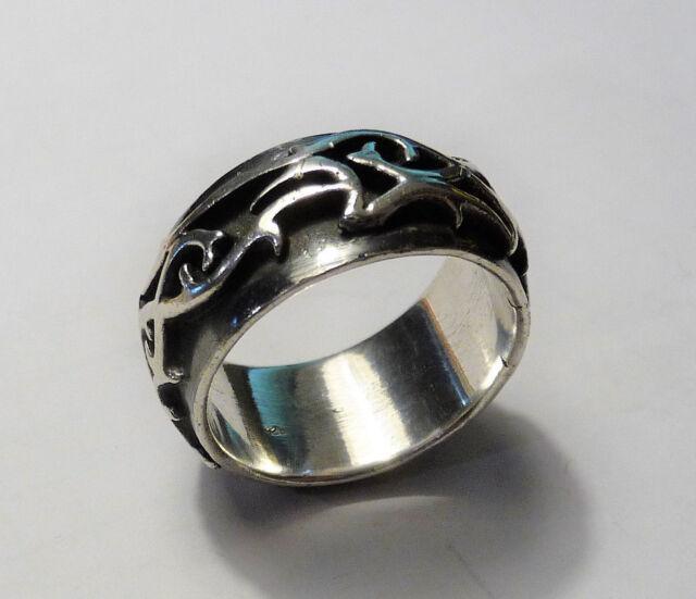 Silberring Ring mit Tribal-Ornamenten 925 Silber Größe 66 / 21 wie neu 13,7 g