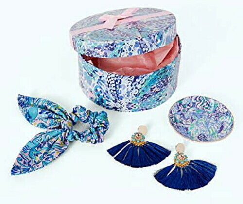 NEW Lilly Pulitzer Dress It Up Gift Box Set ~Blue Earrings Hair Tie Trinket Dish