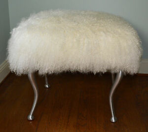 Peachy Details About Real Natural White Mongolian Lamb Fur Bench Tibetan Lamb Stool Ottoman Aluminum Squirreltailoven Fun Painted Chair Ideas Images Squirreltailovenorg