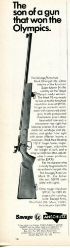 1968 Print Ad of Savage Anschutz Mark 10 Target Rifle son of a gun won Olympics