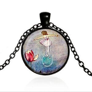 Fairy Dance Photo Cabochon Glass Black Chain Pendant Necklace