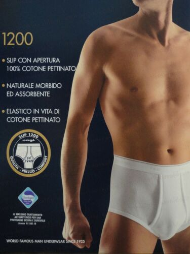SLIP CLASSICO UOMO CAGI ART.1200 ALTO E APERTO DAVANTI 100/% COTONE COLORE BIANCO