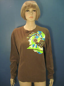 L-brown-psychedelic-retro-print-long-sleeve-knit-jersey-top-by-OLD-NAVY