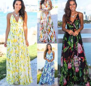 Summer Women/'s Boho Floral Long Maxi Dress Beach Holiday Party Cocktail Sundress