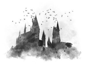 Impresión De Arte Hogwarts Harry Potter Ilustración Negro Y Blanco