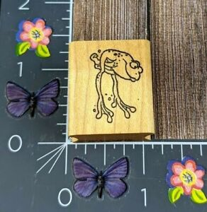 The Stamp Pad Co. Frog Toad Rubber Stamp Jumping Cartoon Animal Wood #C156