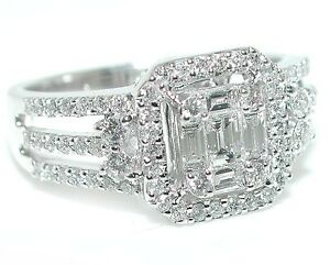 1-CT-BRILLIANT-Halo-Emerald-Cut-Illusion-Triple-Split-Shank-DIAMOND-Ring-18WG