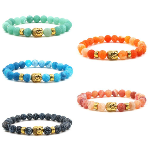 8mm Men /& Women Weathered Agate Buddha Beaded Natural Stone Bracelet Jewelry