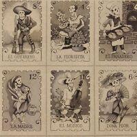 By Yard-cartas Marcadas Black White Day Dead Fabric Alexander Henry Fabric 7666d