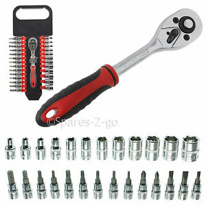 "27Pc 1/4"" Socket & Driver Bit Set Ratchet Wrench Phillips Hex Torx Flat 3 - 14mm"