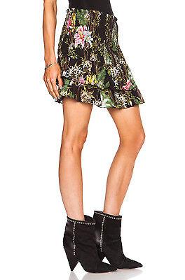 "Obliging Isabel Marant ""wilma"" Smocked Mini Skirt Sz 38 Black Floral Ruffle Tier Skirts"
