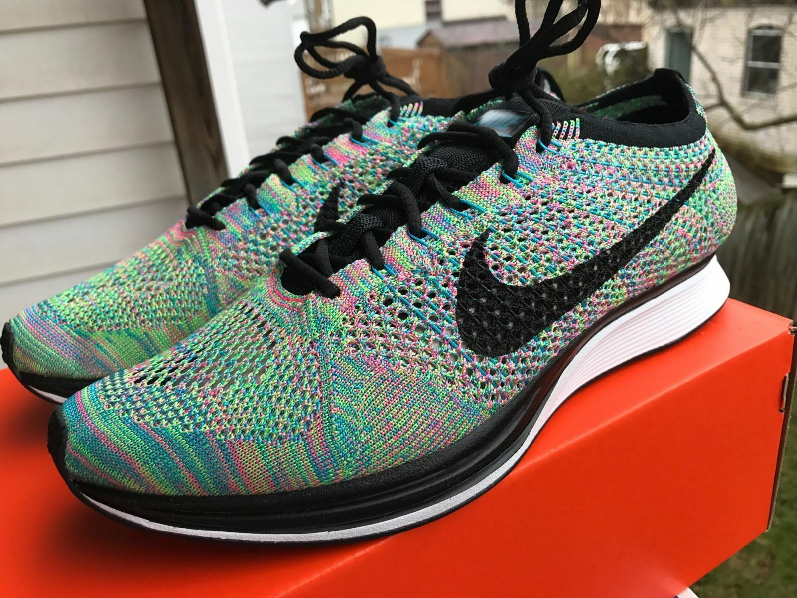 Nike Flyknit Racer Trainer MULTICOLOR 2.0 Multi Color 526628-304 Rainbow 8.5 9