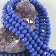 """16"""" Str. 8mm Chinese Crystal Glass Beads Faceted Rondelle Blue Opaque"""