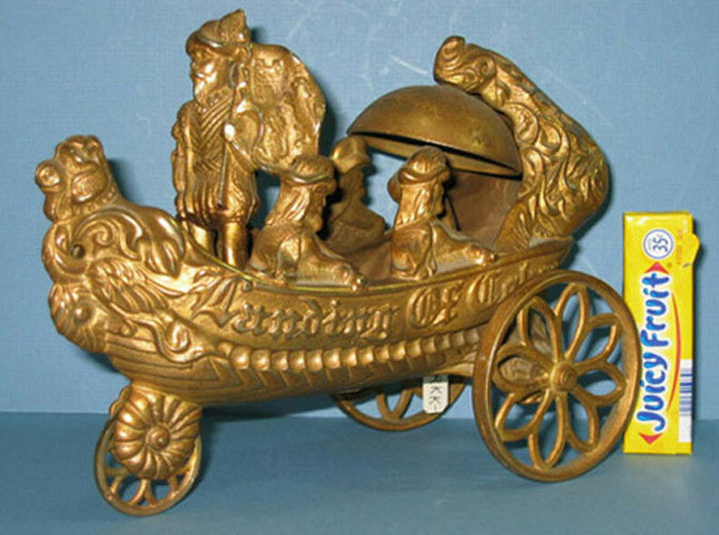AUTHENTIC OLD CAST IRON BELL TOY,  LANDING OF COLUMBUS ALL ORIG ON SALE CI 420