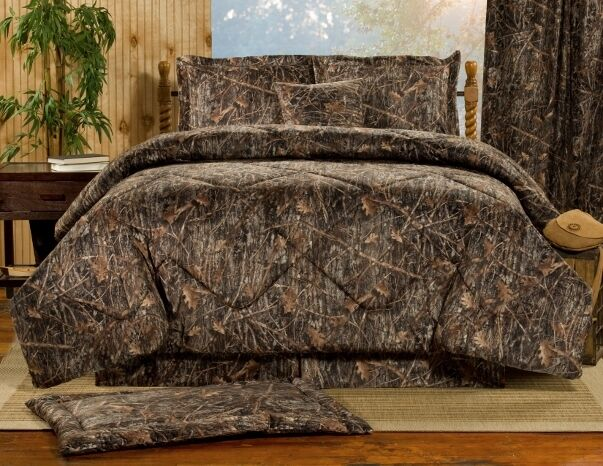 4pc Marronee Bark Based Camouflage Design Soft Suede Touch Comforter Set Full