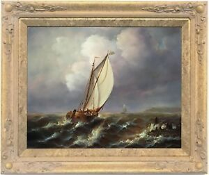 Sailing-Boats-at-Sea-Marine-Oil-Painting-by-Jean-Laurent-French-1898-1988