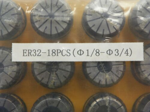 "1//8/"" TO 3//4/""    XS209 18 PIECE SET ER32 SPRING COLLETS"
