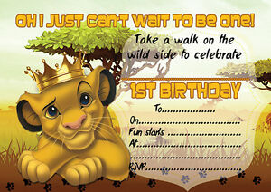 10 x children kids birthday party invitations the lion king ebay image is loading 10 x children kids birthday party invitations the filmwisefo