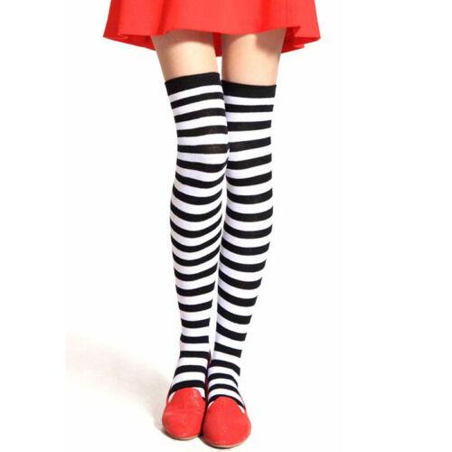 Ladies Girl Stripe Stripey Striped Over The Knee Thigh High Long Socks Raindow