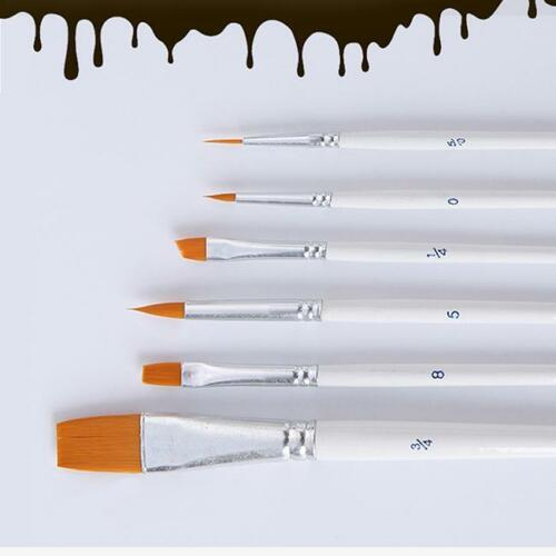 6Pcs //set Paint Brush for Oil Watercolor Acrylic Art Craft Artist Painting DB