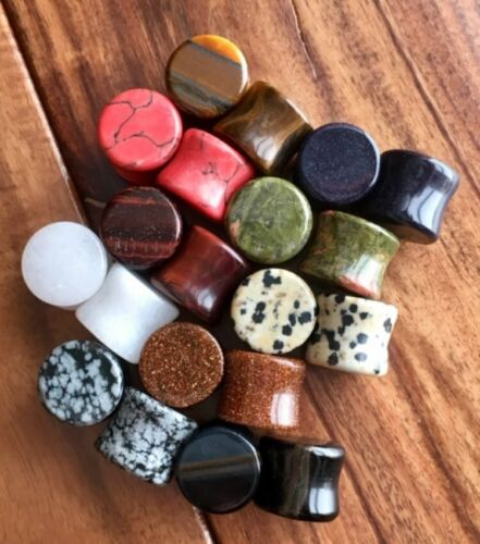 Stone Plugs Organic Double Flare Ear Gauges Body Jewelry ALL 10 PAIR lot 2