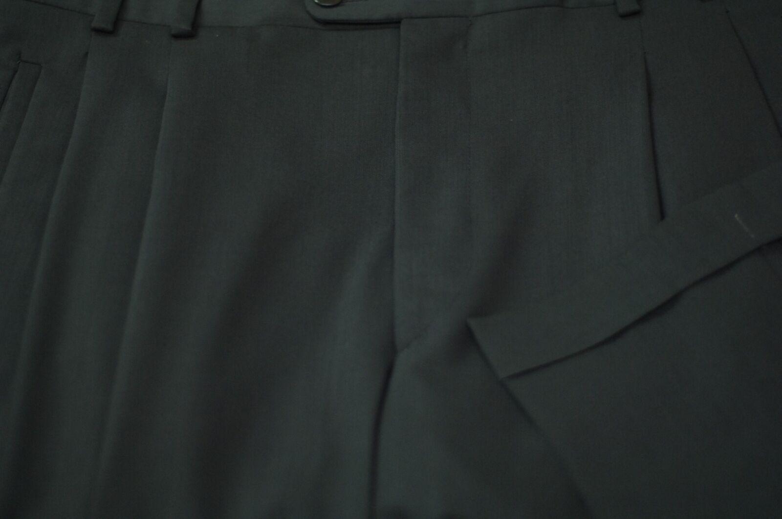 Zanella Men's Dark Olive All Season Wool Pleated Dress Pants 34 x 28
