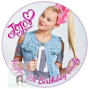 Image Is Loading JOJO SIWA CAKE TOPPER PERSONALISED EDIBLE ICING ROUND