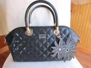 488a964c3e GUESS Black Quilted Satchel Bag Purse Handbag Sac Flower Key Fob ...
