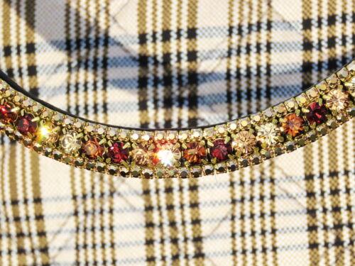 FSS Crystal Bling Curve Shape Browband SHIMMER Gold Bronze Mocha Burgundy Quartz