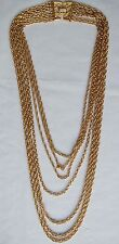"18""-30"" Vintage 7 Strand Gold Plated Rope Chain Necklace-Signed Trifari"
