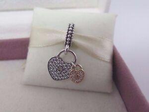 b9544654b New w/Hinged Box Pandora 2 Tone Love Locks w/ CZ's Hearts Charm ...