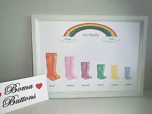 Family Tree personalised rainbow lockdown wellies print - bespoke gift present