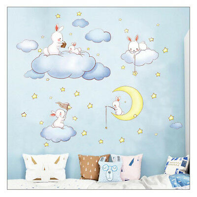 Cartoon Clouds Rabbit Wall Stickers Decal For Child Room Baby Bedroom Home  Decor   eBay