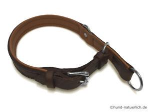 Zugstopp-Lederhalsband-fuer-Hunde-braun-verchromt-Halsband-Leder-Hundehalsband